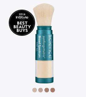 Sunforgettable Brush-on Sunscreen offers powerful SPF 50 UVA/UVB protection.